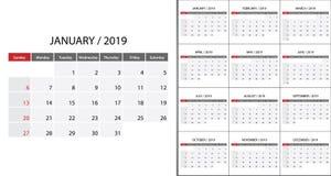 Kalender 2019 vecka start på söndag royaltyfri illustrationer