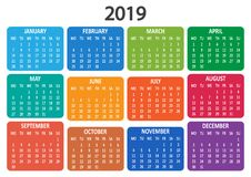 Kalender 2019 Veckan startar från måndag också vektor för coreldrawillustration stock illustrationer