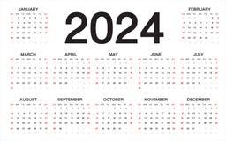 Kalender 2024, veckastarter från söndag, affärsmall royaltyfri illustrationer
