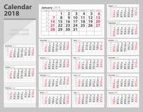 Kalender 2018 veckastarter söndag Tryckdesignmall stock illustrationer