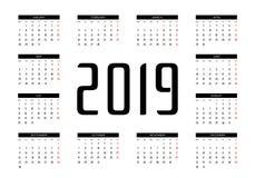 Kalender 2019 Vector royalty-vrije stock afbeelding