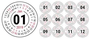 Kalender 2019 vector basisnet Eenvoudig ontwerpmalplaatje engels royalty-vrije illustratie