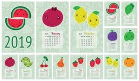 Kalender 2019 Vector Engels kalendermalplaatje Glimlachende vruchten, Royalty-vrije Stock Afbeelding