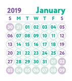 Kalender 2019 Vector Engelse kalender Januari-maand Weekster stock illustratie