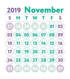 Kalender 2019 Vector Engelse kalender November-maand Weeksta stock illustratie