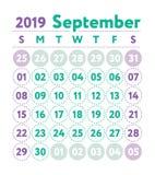 Kalender 2019 Vector Engelse kalender September-maand Week st royalty-vrije illustratie