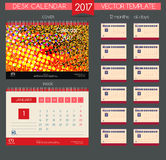Kalender 2017 Vectormalplaatjes alle maanden Stock Foto