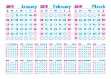Kalender 2019 Vektor-Englischkalender Januar, Februar, Marsch lizenzfreie abbildung