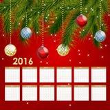 Kalender-Vektor-Illustration des neuen Jahr-2016 Stockfotografie