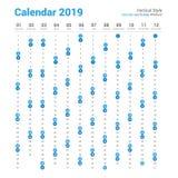 Kalender-Vektordesign der Vertikale 2019 Samstag- und Sonntags-Wochenende lizenzfreie abbildung