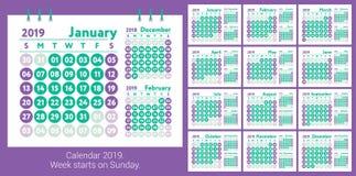 Kalender 2019 Vektorengelskakalender Januari februari, marsch vektor illustrationer
