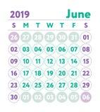 Kalender 2019 Vektorengelskakalender Juni månad Veckastarter vektor illustrationer