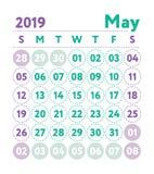 Kalender 2019 Vektorengelskakalender Maj månad Veckan startar nolla vektor illustrationer