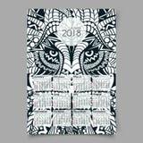Kalender 2018 Verzierter Kopf des Löwes lizenzfreie abbildung