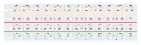 Kalender von Jahr 2017, 2018, 2019, 2020, übersichtliches Design, Stockbild