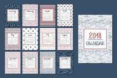 Kalender voor 2018 Royalty-vrije Stock Afbeelding