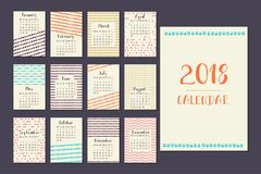 Kalender voor 2018 Stock Afbeeldingen