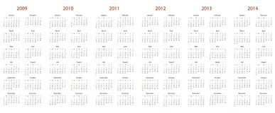 Kalender voor 2009, 2010, 2011, 2012, 2013 en 2014 Royalty-vrije Stock Foto's
