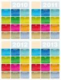 Kalender voor 2010, 2011, 2012 en 2013 Royalty-vrije Stock Afbeeldingen