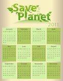 Kalender voor 2011 - sparen de Planeet Stock Afbeelding