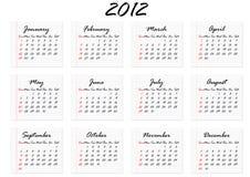 Kalender voor 2012 in het Engels Royalty-vrije Stock Fotografie
