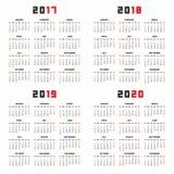 Kalender voor 2017, 2018, 2019, 2020 Stock Afbeeldingen
