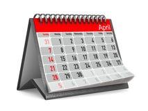 Kalender voor April Geïsoleerde 3d illustratie Stock Afbeeldingen