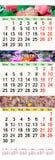 Kalender voor Augustus - Oktober 2017 met gekleurde beelden Stock Afbeelding
