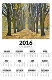 Kalender voor 2016 Autumn Landscape Royalty-vrije Stock Afbeeldingen