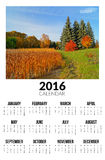 Kalender voor 2016 Autumn Landscape Stock Foto's