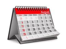Kalender voor 3D illustratie van August Isolated Stock Afbeelding