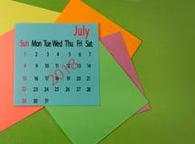 Kalender voor de close-up van Juli 2018 Stock Foto