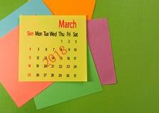 Kalender voor de close-up van Maart 2018 Royalty-vrije Stock Fotografie