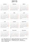 Kalender 2015 voor de V.S. Royalty-vrije Stock Foto's