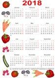 Kalender 2018 voor de V.S. met diverse groenten Royalty-vrije Stock Afbeeldingen