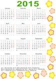 Kalender 2015 voor de V.S. met vakantie en bloemen Stock Afbeelding
