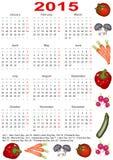 Kalender 2015 voor de V.S. met vakantie en groenten Royalty-vrije Stock Afbeelding