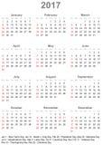 Kalender 2017 voor de V.S. - weekbegin op zondag Stock Afbeelding