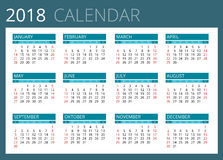 Kalender voor 2018 De week begint Zondag Eenvoudig vectorontwerp vector illustratie