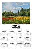 Kalender voor 2016 De ZOMERlandschap Royalty-vrije Stock Foto's