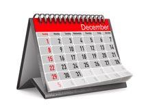 Kalender voor December Geïsoleerde 3d illustratie Stock Afbeelding