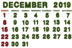 Kalender voor December 2019 op witte achtergrond, stock fotografie