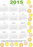 Kalender 2015 voor Duitsland met vakantie en bloem Royalty-vrije Stock Foto