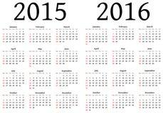 Kalender voor 2015 en 2016 Royalty-vrije Stock Afbeelding