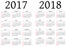 Kalender voor 2017 en 2018 stock illustratie