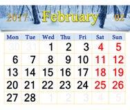 Kalender voor Februari 2017 met de winterlandschap Royalty-vrije Stock Afbeelding