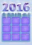 Kalender voor 2016 Gelukkig Nieuwjaar Stock Illustratie