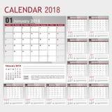 Kalender voor 2018 in grijs-rode kleur met een plaats voor het embleem Stock Fotografie