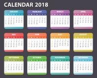 Kalender voor het beginzondag van 2018, het vectorjaar van het kalenderontwerp 2018 Stock Foto