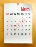 Kalender voor het close-up van Maart 2018 Stock Afbeelding